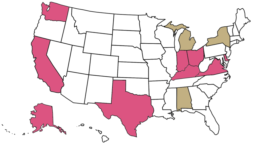 USA map showing states where Rosewyn puppies live